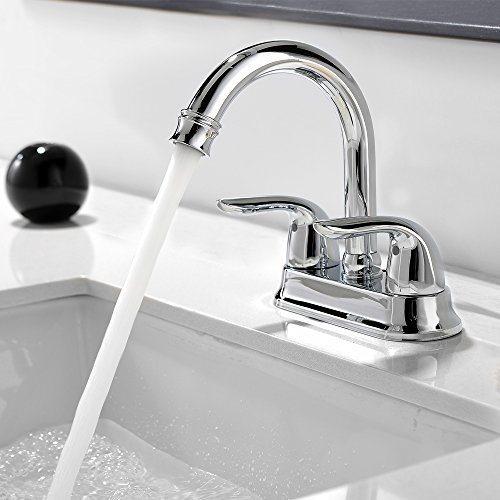 Comllen Best Commercial Centerset Two-Handle Lavatory Chrome Bathroom Sink Faucet, Bathroom Faucets Chrome Finish Without Drain Stopper by Comllen (Image #2)