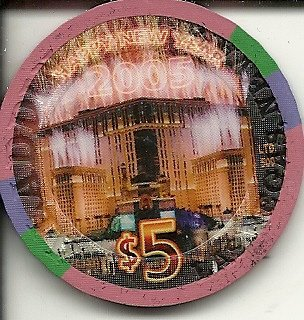 $5 planet hollywood 2005 happy new year las vegas casino chip