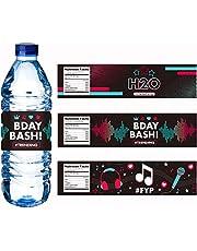 ملصقات زجاجات المياه لديكورات الحفلات TIK-TOK ، مستلزمات حفلات عيد الميلاد TIK-TOK للمشجعين والبنات والكبار الموسيقية دي جي القصيرة هدايا حفلات الفيديو (24 قطعة)