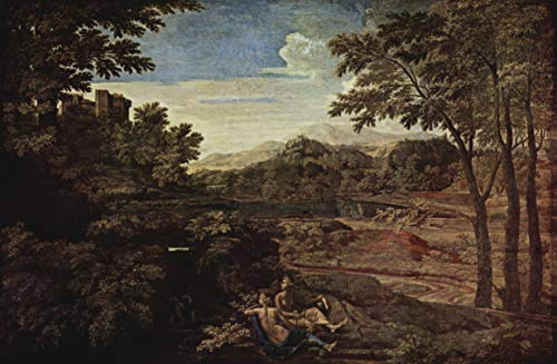 Home Comforts Peel-n-Stick Poster of Poussin, Nicolas - Landscape with Two Nymphs Vivid Imagery Poster 24 x 16 Adhesive Sticker Poster - Poussin Nicolas Landscape