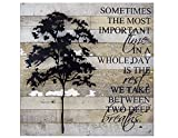 American Made Reclaimed Wood with Metal Tree Wall Sculpture: Between Two Deep Breaths Quote, 20″ Square Review