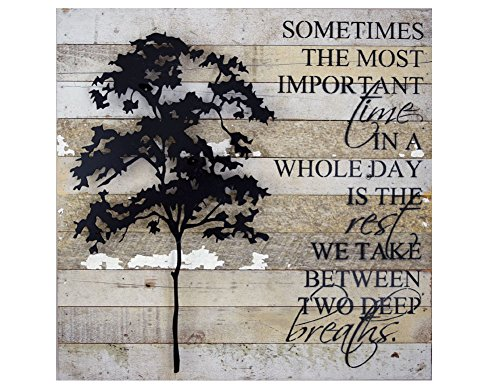 Wall Tree Sculptures - American Made Reclaimed Wood with Metal Tree Wall Sculpture: Between Two Deep Breaths Quote, 20