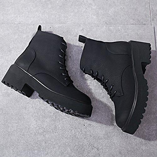 botas KPHY grueso botas botas algodón Wet de terciopelo zapatos and y cálido 36 negro más otoño hembra primavera invierno Wild de Martin nrBArT
