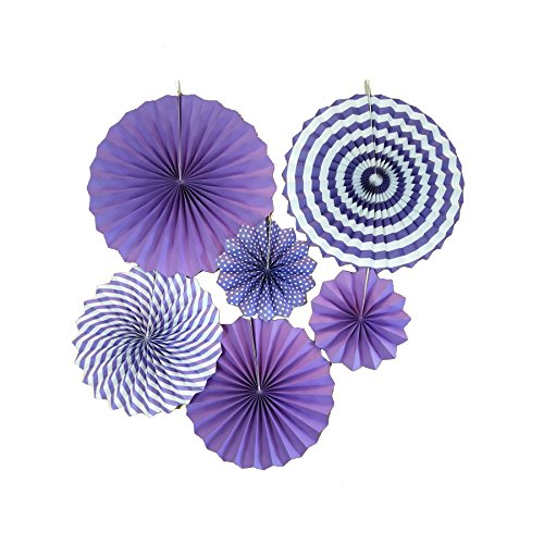 LayYun Colorful Hanging Paper Fans -Fiesta Round Party Paper Garland Decorations, Party Supplies for Bridal Wedding, Birthday Party, Baby Shower, Graduation Event Accessories, Set of 6 (Purple)