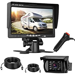 Discount Emmako Backup Camera and 7'' Monitor Kit for Truck Trailer RV Camper IP68 Waterproof Night Vision Camera Wires Cigarette Lighter for Whole System Reverse/Constantly Use Connect/Disconnect 4 Pin Cable