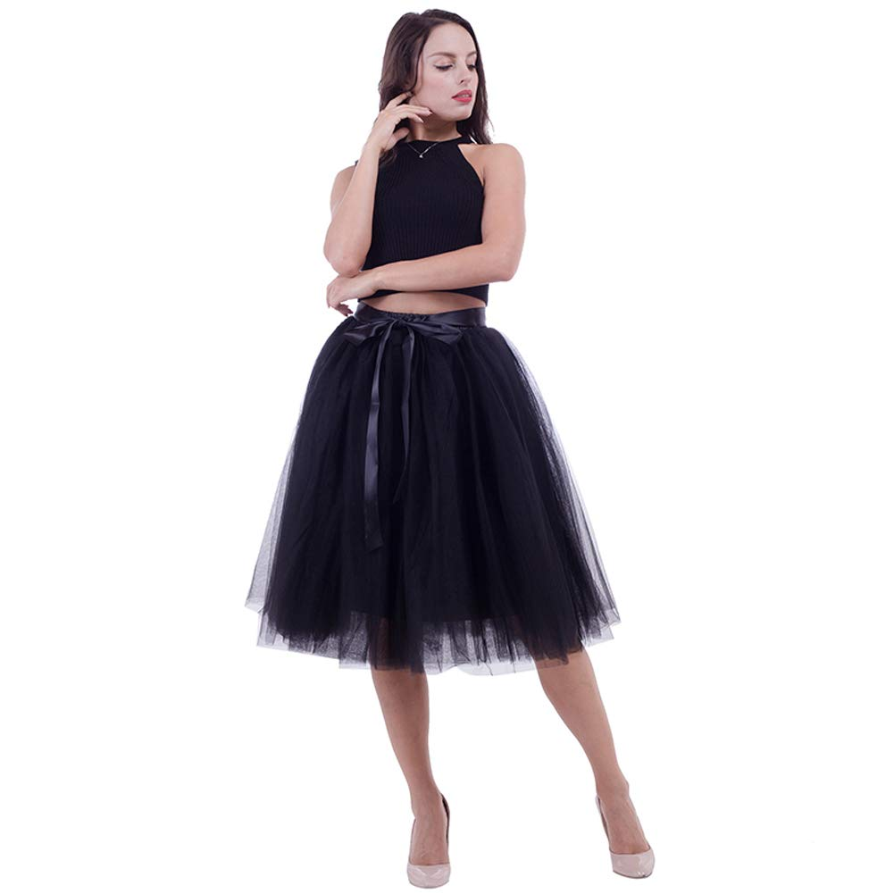5577e258d3 Women's Tulle Skirt Layered Tutu A Line Knee Length Pleated Bubble Party  Skirt