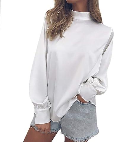 Kinlene Mujer Camisetas Color sólido Cuello Alto Tejer Espalda Abierta Elegante Top Mujer Suéter Tipo con Cuello de Tortuga Blusa Knit Crop Tops ...