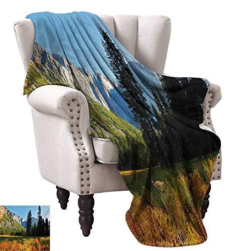 (Anyangeight Weave Pattern Extra Long Blanket,Birds Flight Flies Over Mountains Yosemite National Park Early Fall Season 70