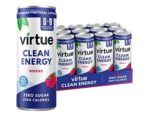 Virtue Clean Energy – Natural Energy Drink – Zero Sugar, Zero Calories (Berries, 12 Pack)