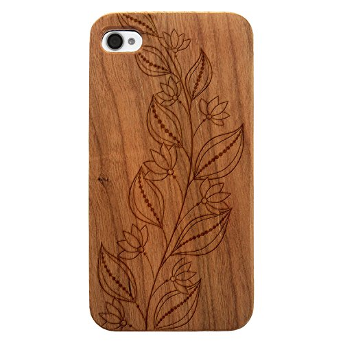 JewelryVolt Wooden Phone Case for iPhone 4 or iPhone 4s Cherry Wood Laser Engraved Floral Summer Spring Vine Leaves