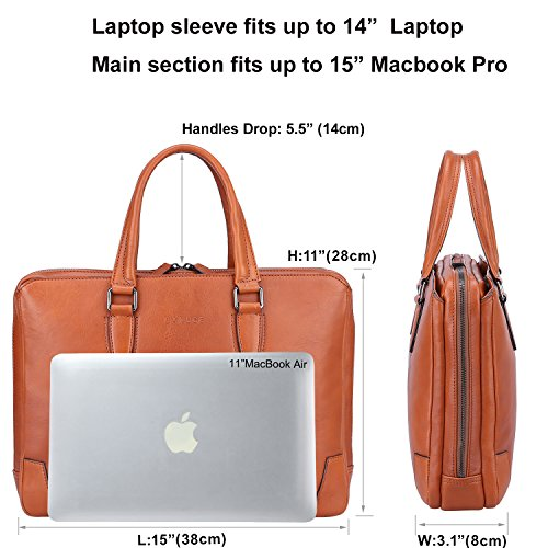 """Banuce Italian Leather Briefcase for Men and Women Business Travel Work Tote Bag Attach Case U-zip 14"""" Laptop Organizer by Banuce (Image #3)"""
