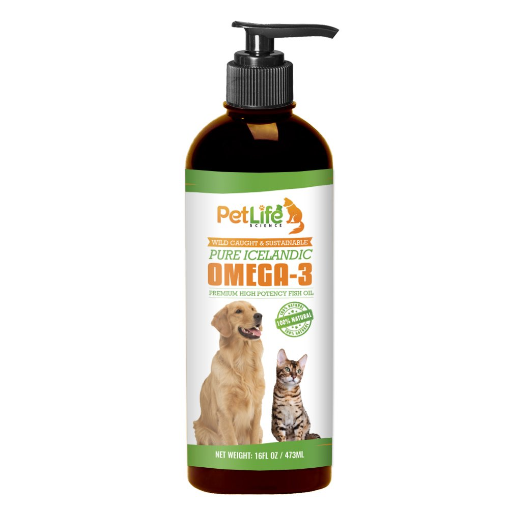 Pet Life Science Pure Omega 3 Fish Oil for Dogs - Improves Dry Itchy Skin and Coat, Excess Shedding, Joint Pain Relief in Dogs, Superior, High Potency, Liquid EPA DHA Supplement, 16oz Pump Dispenser