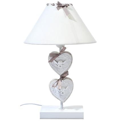 Lámpara de mesa provenzal, blanca, corazones de madera con ...
