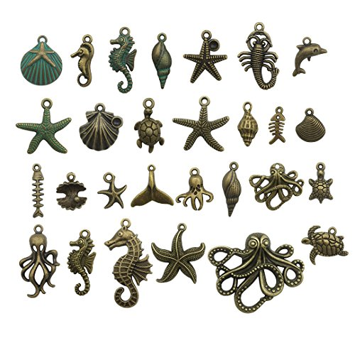 - 55 PCS Marine Life Charms Collection - Mixed Starfish Seashells Conch Sea Horse Octopus Mermaid Dolphin Charms Pendants (Bronze HM69)