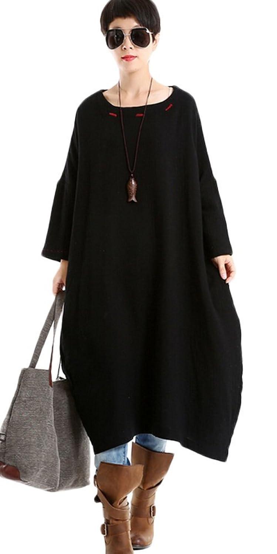 MatchLife Damen Embroidery Rundhals Kleider