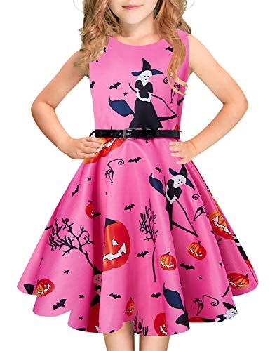 Teenagers Halloween Witches Pumpkin Dresses Big Girl Sleeveless 50's Retro Halloween Party Dress Zipper Back Size 11-12]()