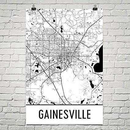 Gainesville Map Of Florida.Amazon Com Gainesville Poster Gainesville Art Print Gainesville