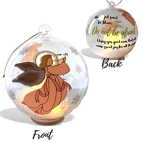 Angel Ornament - Light Up Glass Ball Ornament with Glitter Snow - Angel Design with the Saying