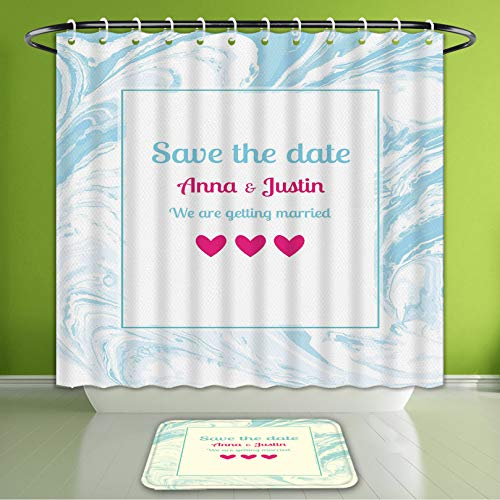Waterproof Shower Curtain and Bath Rug Set Liquid Marble Pattern Wedding We are Getting Married Save The Date White Pink L Bath Curtain and Doormat Suit for Bathroom Extra Long Size 72