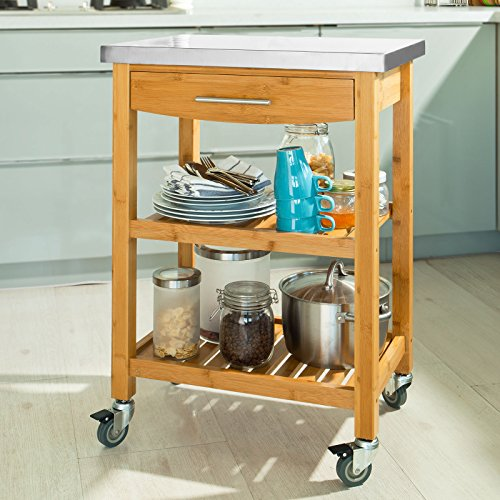 SoBuy FKW28-N, Bamboo Kitchen Trolley Kitchen Cart with Stainless Steel Worktop, L58xW40xH87cm
