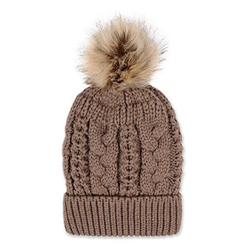[WSHINE Women's Faux Fur Pom Pom Fleece Lined Knitted Slouchy Beanie Hat (8)] (Duckbill Costume Pattern)