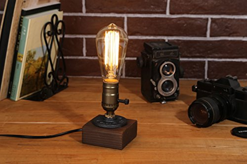 (Kiven Vintage Industrial Decor Vintage Table Light Edison Bulb Wooden Desk Lamp Retro 1930s Home Decor Lighting Antique Nightlight Art Display)