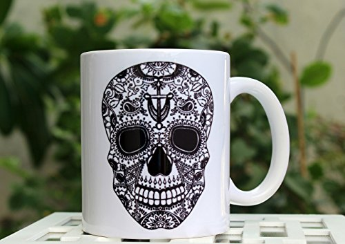 Sugar Skull Mug Black and White