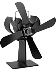 JOYOOO 4-Blade Heat Powered Stove Fan,Wood Stove Fan,Ultra Quiet for Wood Log Coal Burner Fireplace No Electricity Required Eco Fan - Eco Friendly Small Leaves-Black