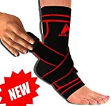 Plantar Fasciitis Sock Sleeve with Ankle Brace Strap for Support & Pain Relief by Athledict™ (Black/Red, M)