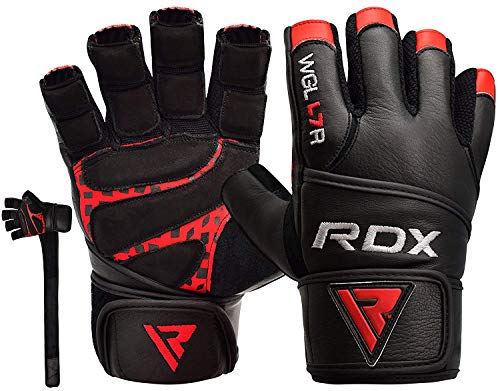 RDX Weight Lifting Gloves Cowhide Leather Gym Powerlifting Workout Fitness Bodybuilding 50 cm Long Wrist Breathable Strength Training Exercise