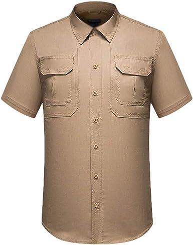 Kaiyei Hombre Camisas Tactica Militar Secado Rápido Manga Corta Solapa Botón Camuflaje Combate Camisetas Ropa de Trabajo Respirable Respiraderos Camping Caceria Bosque: Amazon.es: Ropa y accesorios