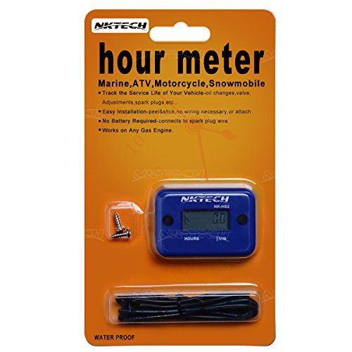 NKTECH NK-HS2 Inductive Hour Meter For Gas Engine Marine ATV Motorcycle Boat Snowmobile Dirt Ski Generator Waterproof Stroke Tachometer (Blue)