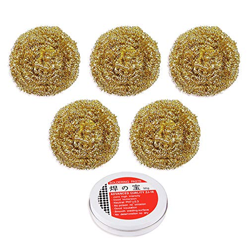 (5PCS Premium Solder Tip Cleaning Ball + 50g Solder Paste Flux, Soldering Iron Tip Cleaner Brass Wire(28-30g/pc, Full Brass), A Good Replacment To the Conventional Sponges)