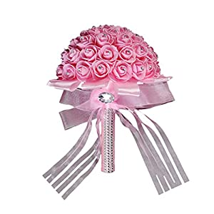 Transer Handmade Bridal Artificial Foam Roses Flower Bouquet Wedding Bride Party Decor 71