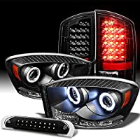 Xtune for 2006 Dodge Ram Black DRL LED Halo Projector Headlights + LED Tail Lights + LED 3rd Brake Lamp