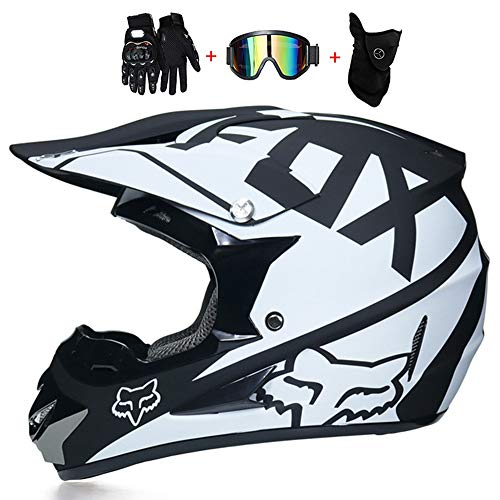 WWtoukui Four Seasons Universal Adult Motorcycle Off-Road Helmet, Men and Women Off-Road Motorcycle Ski Protective Helmet, Gloves Mask Goggles (Set of 4),G,XL