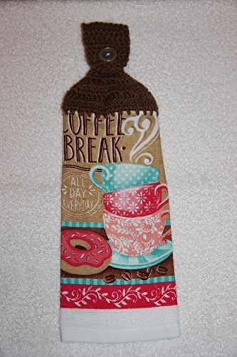 Crocheted Coffee Break - All Day Everyday Kitchen Towel with Café Latte Yarn