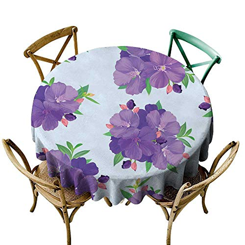SKDSArts Round Tablecloth Seamless Pattern with Beautiful Purple Princess Flower or tibouchina urvilleana and Leaf on Blue Background D65,Round Tablecloth