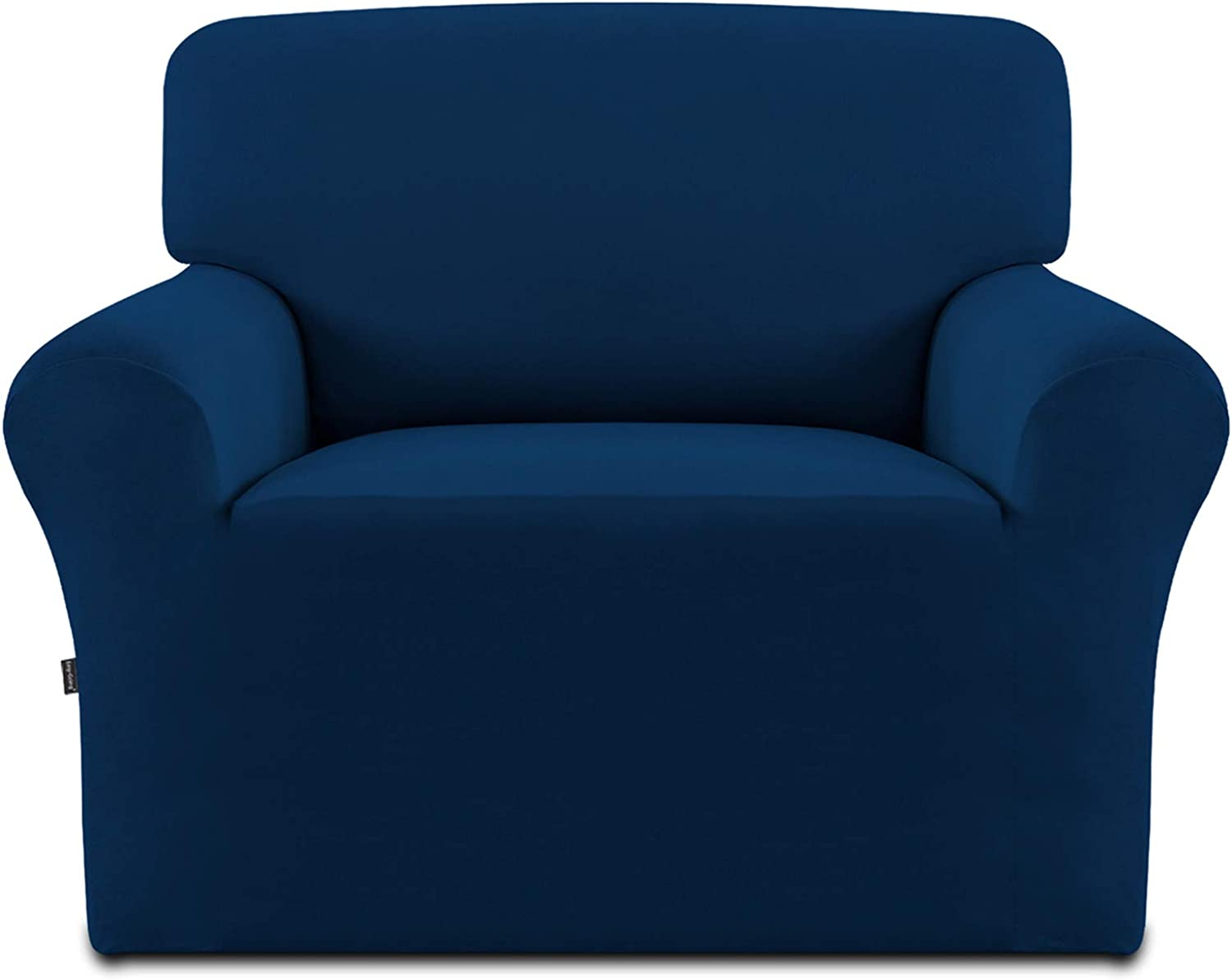 Easy-Going Fleece Stretch Sofa Slipcover – Spandex Anti-Slip Soft Couch Sofa Cover, Washable Furniture Protector with Anti-Skid Foam and Elastic Bottom for Kids, Pets(Chair,Navy
