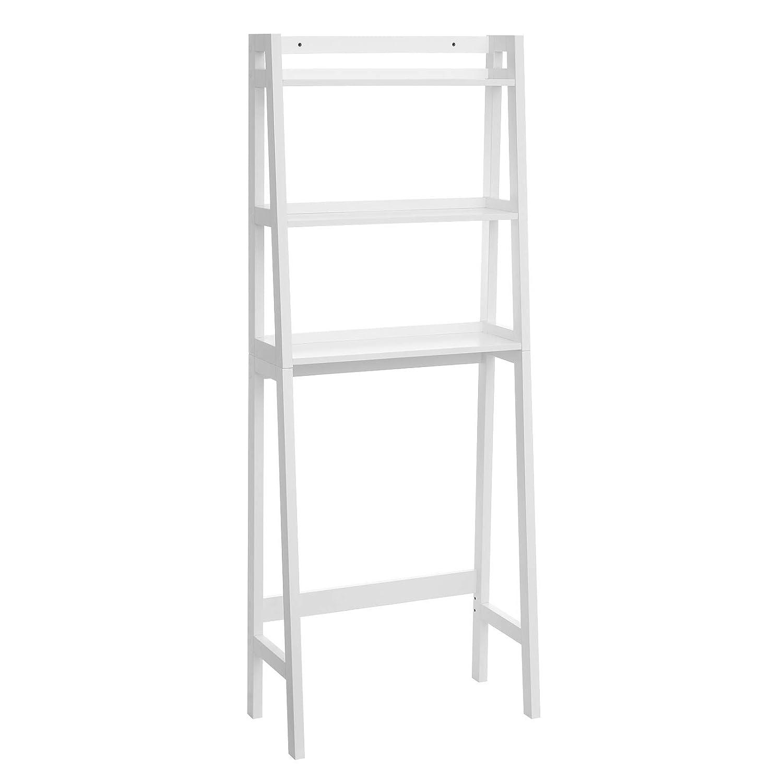 VASAGLE Over The Toilet Storage Rack, Bathroom Space Saver Unit, 3-Tier Shelf Organizer, Adjustable Bottom Bar, White UBBC11WT