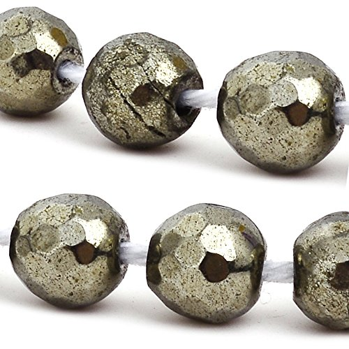 - RUBYCA Pyrite Gemstone Faceted Round Natural Loose Beads AAA Grade Jewelry Making (1 strand, 70pcs)