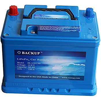 Backup 1250750 Lithium Iron Phosphate (LiFePo4) Automotive Replacement Battery 50AH, 750A CCA, 640Wh 10 Years Lifetime.