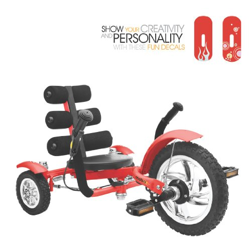 Mobo Cruiser Mini Luxury Three Wheeled Cruiser, Red, (Mini Red Tricycle)