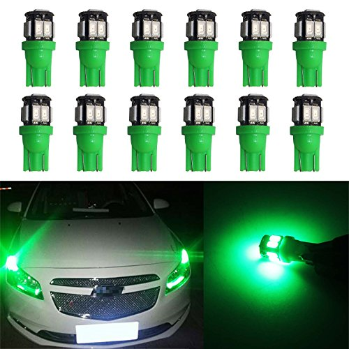 (YaaGoo 12 pack Compact Small bulb License Plate Lights Lamp,T10 168 194 2825 W5W,green,12pcs)