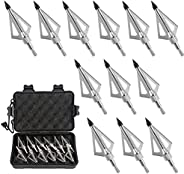 12 PCS Crossbow Broadheads, Broadheads 100 Grain with 3 Stainless Steel Blades for Hunting and Shooting Game,