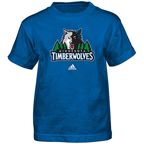 fan products of NBA Minnesota Timberwolves Boys Full Primary Logo Short Sleeve Tee, Large (7), Capital Blue