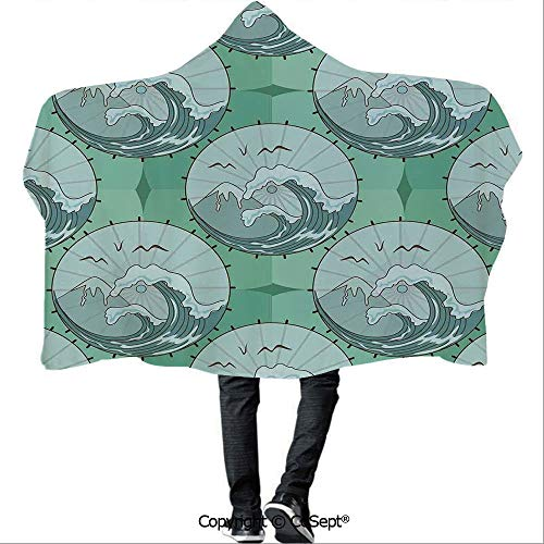 (SCOCICI Wearable Hooded Blanket,Wave Mountain and Gull Nature Scenery in Circle Chinese Umbrella Pattern,for Adults and Children(59.05x43.30 inch),Green Blue )