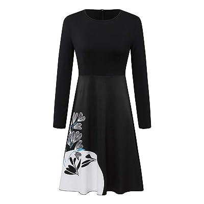 Sttech1 Women's Long Sleeve O-Neck Printed Winter Dress Casual Fall Midi Dress Waist Swing Dress: Clothing