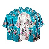 Gifts Are Blue Floral Bridal Party Bride & Bridesmaid Robe Sets, Sizes 2 To 20 (Set Of 9)