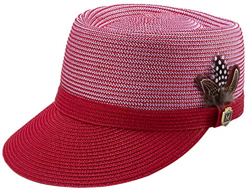 Accents Hat Pin - MONTIQUE Braided Legionnaire Designer Two Tone Hat with Feather and Pin H67 (Medium, Red)